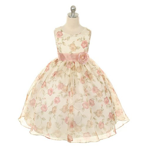 Organza Floral Special Occasion Dress in Vintage Rose Girls - (Girls In Sheer Dresses)