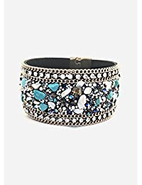 Turquoise chip cuff bracelet with magnetic clasp