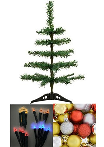 Count Cutie Toddler Costumes - Desktop Work Office Table-Top Artificial Christmas Trees, 18 in. House 10-Bulb LED Battery-Powered Light Sets COLOR MAY VARY, BONUS 16 Count Pack of Ornaments Bulbs