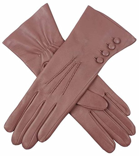 Antique Rose Rose Silk Lined Leather Gloves by Dents - Medium