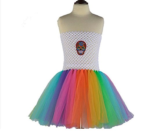 White Rainbow Sugar Skull Tutu Dress Costume from Chunks of Charm (7)