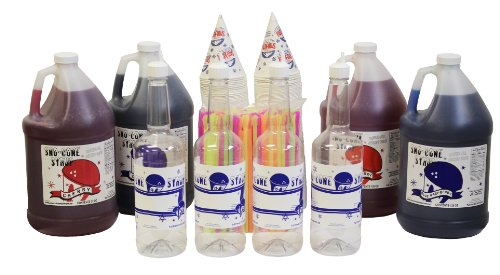 Straw Cap Cotton (Snow Cone & Shave Ice Syrup Complete Kit-Choose Your Flavors)