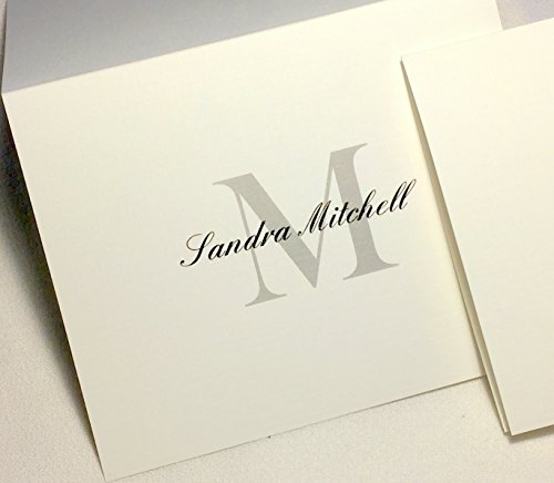 (50 Personalized Note Cards with Initial Plus Full Name. Matching Envelopes Included. Choose Large Script Initial in Blue or Block Initial in Grey/Black. Blank Inside.)