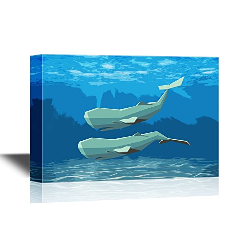 Two Geometric Whales Swimming under the Ocean