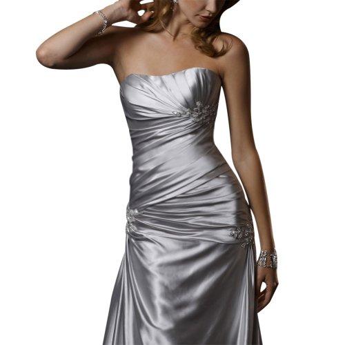 Perlen BRIDE GEORGE Einfache Brautkleider Hochzeitskleider Satin Elfenbein traegerlosen Applikationen wFwIZqvg