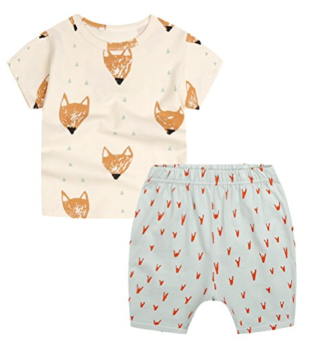 (Baby Boys' Toddler Outfits Kids T-shirt Top Shorts Set(12-18m,Yellow Foxes))