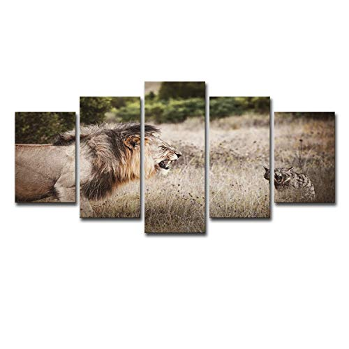 Roar Picture Lion (VANKINE Modern Wall Art Posters Paintings Canvas Prints 5 Piece Landscape Lions Cats Roar Forest Grassland Abstract Pictures for Home Decor Room Artwork - Unframed and Framed Ready to Hang)