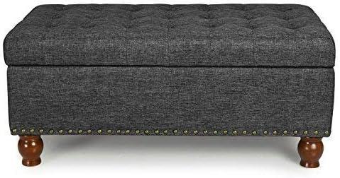 ELEGAN Home Life Lift Top Ottoman Storage Bench Gray