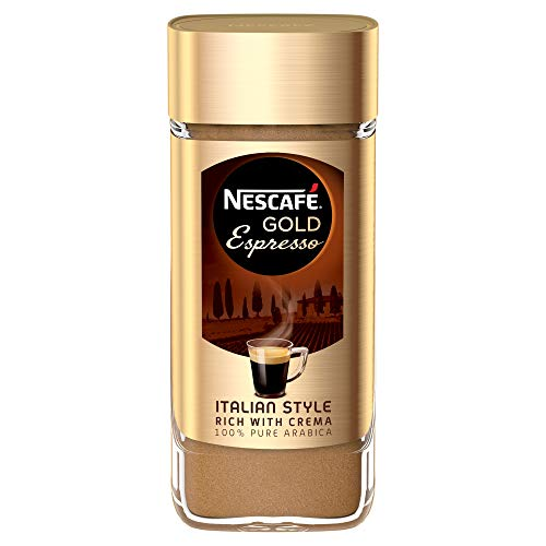 NESCAFE Instant Espresso In Jar, 3.5 Ounce Imported From The UK England Strong Tasting Rich Coffee With Velvety Coffee Crema British Instant - Instant Espresso Nescafe