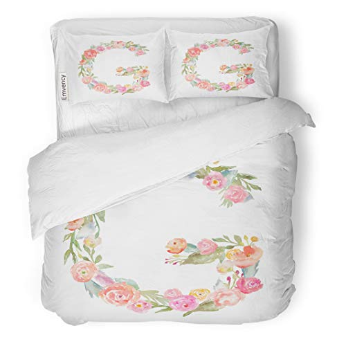 Semtomn Decor Duvet Cover Set Full/Queen Size Colorful Decorated Floral Watercolor Flower Monogram Letter G Alphabet 3 Piece Brushed Microfiber Fabric Print Bedding Set Cover