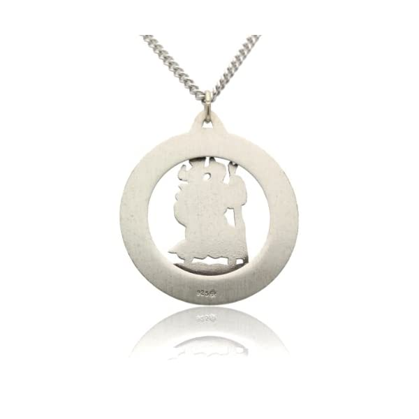 Mens-Large-Saint-Christopher-Round-Cut-Out-Medal-and-Necklace-Solid-925-Sterling-Silver-24-Inch-925-Sterling-Silver-Chain-3250-Mm-127-Inch
