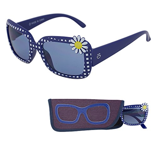 REVO Sunglasses for Children – Blue Color Lenses for Kids - Reduces Glare, 100% UV Protection - Blue Frame with Polka dots - Matching Pouch - Ages 3 to 12 - By Optix 55