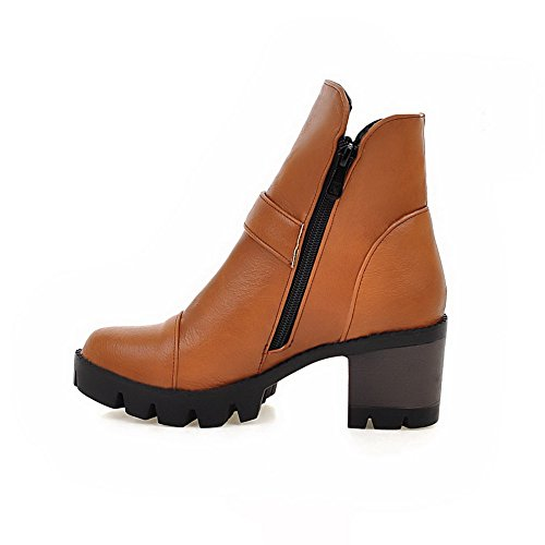 AmoonyFashion Womens PU Low-Top Solid Zipper High-Heels Boots, Brown, 38