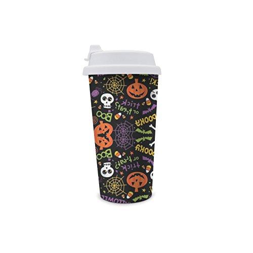 Halloween Pumpkin Skull Double Wall Water Bottle With -