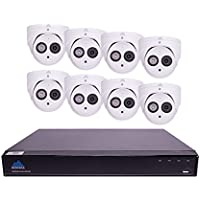 Montavue Professional Security System 8 Channel 4K NVR, 8 4MP Turret/Dome Audio Cameras w/ 200ft of HypeIR Night Vision, Color Night Optics – MTIP80828T