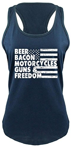(Comical Shirt Ladies Racerback Tank Beer Bacon Motorcycles Guns & Freedom Tee Gun Rights Navy 2XL)