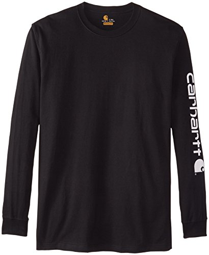 Carhartt Men's Big & Tall Signature Sleeve Logo Long Sleeve T-Shirt ,Black,2X-Large/Tall