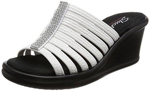 Skechers Cali Calzado Mujer Caliente Wedge Sandalia, Blanco