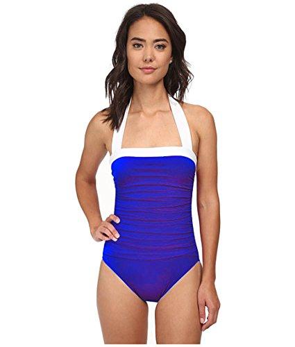 Lauren by Ralph Lauren Women's Bel Aire Shirred Bandeau Mio Slimming Fit One-Piece, Marina Blue, 6
