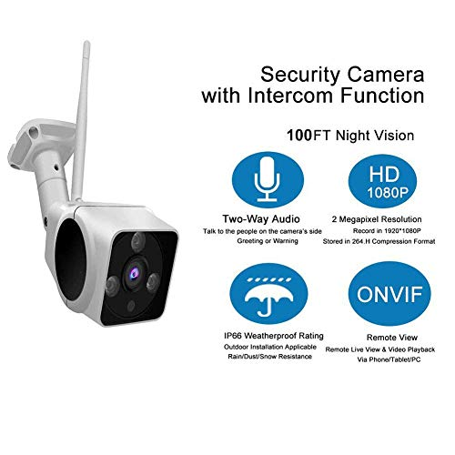 YUN CAMARA@ 1080P Wireless Security Camera Outdoor WiFi IP Camera with Intercom Function Night Vision and Built-in 16G Micro SD Card,Model ZD-HGM130B-V7