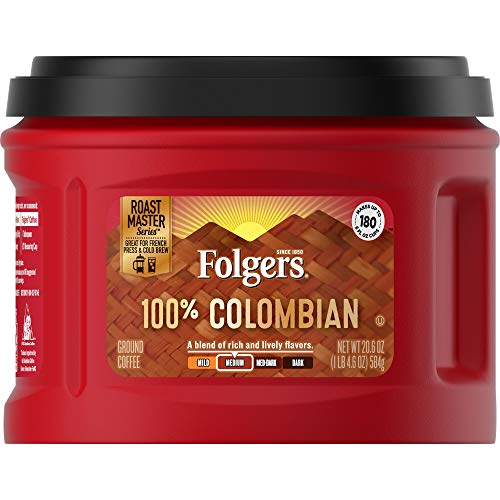 Folgers Colombian Ground Coffee, Medium Roast, Caffeinated, 20.6 Ounces (Pack of 3), Packaging May Vary