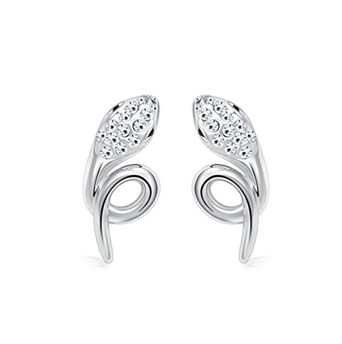 Winter's Secret Silver Diamond Accented Stereoscopic Auspicious Snake White Crystal Stud Earring - Drawer Half Log