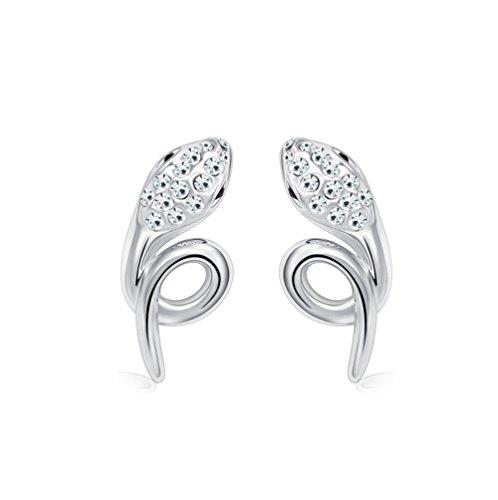 Winter's Secret Silver Diamond Accented Stereoscopic Auspicious Snake White Crystal Stud (Swarovski Logo Sunglasses)