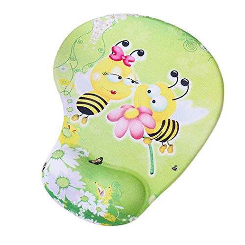 Cute Mouse Pad with Wrist Support, Bee Mouse Pad Soft Cushion Lovely Animals - Memory Foam Wrist Rest Gel Pad Non-Slip PU Base