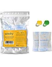 wisedry 50 Gram [6PACKS] Rechargeable Silica Gel Desiccant Packets Desiccant Bags Orange to Green indicating for Air Dryer Food Grade