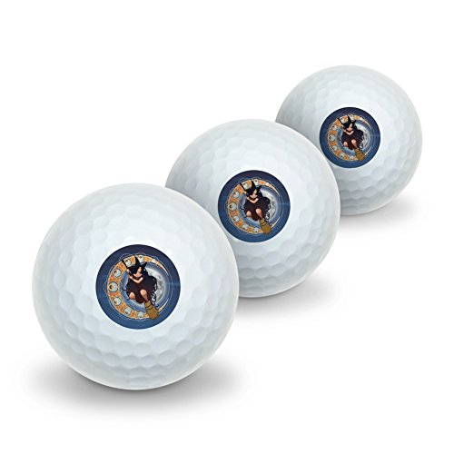 Witch on Broom over Moon Art Nouveau Style Novelty Golf Balls 3 Pack