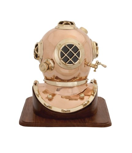 Brass Accents Bolt - Deco 79 Metal Wood Diving Helmet, 17 by 16-Inch