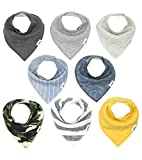 Matimati Baby Bandana Bibs for Boys, Super Absorbent Drool and Teething Bib Set 8-Pack (Brody)