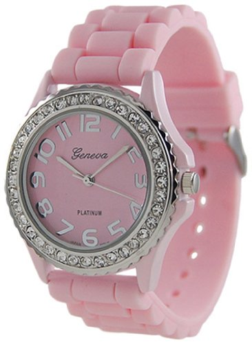 Platinum CZ Accented Silicon Link Watch Quartz Wristwatch Watches, Large Face - Pink Quartz Jelly