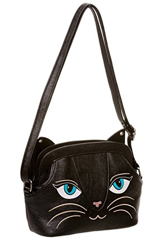 Banned Gothic Emo Punk Rock Meow Black Cat Neko Crossbody Purse with - Punk Rock Cat