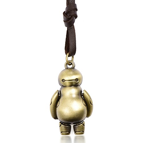 Victoria Echo Retro Alloy Baymax Pendant Brown Leather Choker Necklace