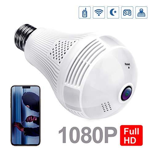 MixMart Cámara de bombilla de WiFi con 360° Lente ojo de pez, Cámara panorámica de seguridad inalámbrica de 1080P FHD,...