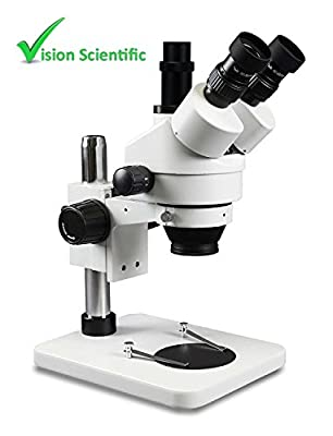 Vision Scientific VS-1F Trinocular Zoom Stereo Microscope, Paired 10x Widefield Eyepiece, 0.7x—4.5x Zoom Range, 3.5x—90x Magnification Range, 0.5x & 2x Auxiliary Lens, Pillar Stand