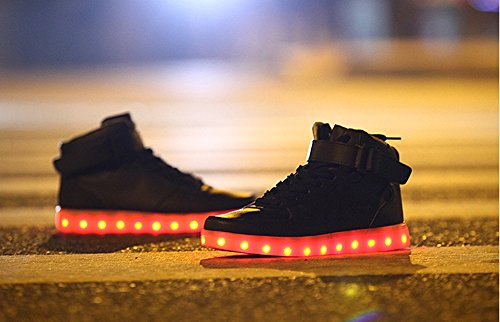 Bininbox Älskare Unisex Usb-laddning Ledde 7 Färger Lampor Skor Blinkande Sneaker Svart