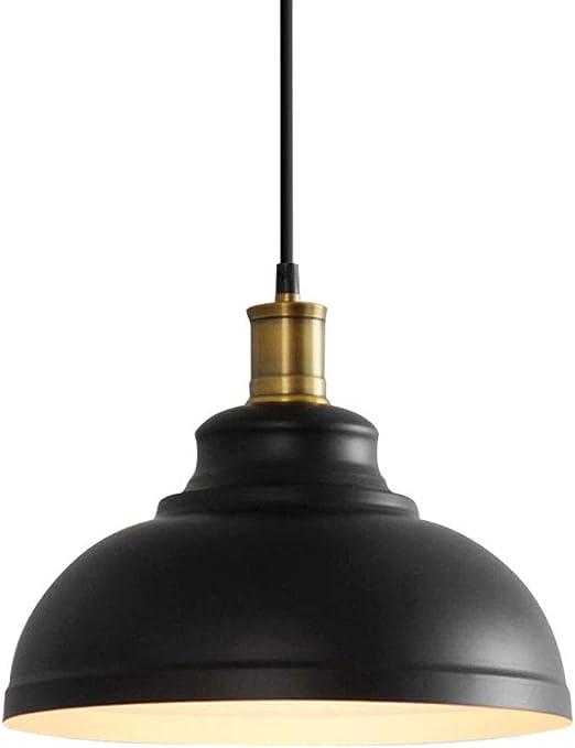 Rétro lampe pendentif intérieur noir en métal abat jour