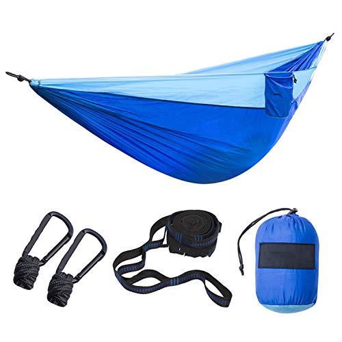 Nylon Foldable Hammock Ultralight Parachute Camping Swing Color Red Green Blue Orange with 2 Tree Straps Double XXXL,Royal Blue LightBlue