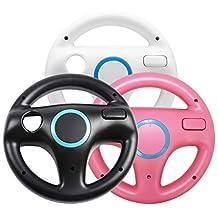 Jadebones 3 x pcs Black White Pink Steering Mario Kart Racing Wheel for Nintendo Wii Remote GameWII