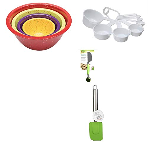 ZAK Designs 4-Pc. Nested Mixing Bowl Set, PLUS a 9-Piece Chef Craft Measuring Cup/Spoon Set, PLUS Home Basics Silicone Spatula w/Stainless Steel Handle, PLUS Healthy Steps Cookie Pro Scoop by ZAKS Design