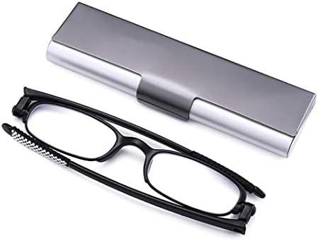 ポータブル折りたたみ老眼鏡、スリムミニ老眼鏡、黒い枠90度のボックスで、古い眼鏡を回転させます (Color : Black, Size : +1.0x)