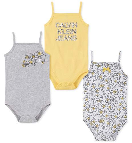 Calvin Klein Baby Girls 3 Pieces Pack Bodysuits, Yellow/Gray/Print, 0-3 Months