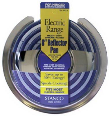 Stanco Range Reflector Pan For Hinged Elements Chromed Steel, Porcelain 6 In.