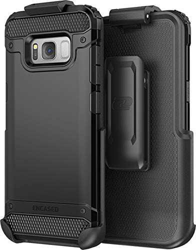 Galaxy S8 Tough Belt Case & Clip (Encased R7 Series) Premium 2-Layer Protection with Flexible TPU Inner and Hard Outer Cover for Samsung S8 (Holster Included) (Jet Black)