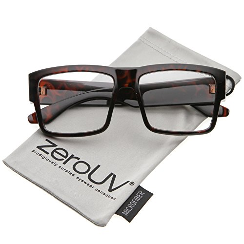 zeroUV - Oversize Horn Rimmed Wide Arms Clear Lens Square Eyeglasses 56mm (Shiny Tortoise / - Wide Frame Glasses