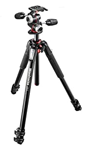 Manfrotto MK055XPRO3-3W 055 Kit Aluminium 3-Section Horizontal Column Tripod with 3-Way Head
