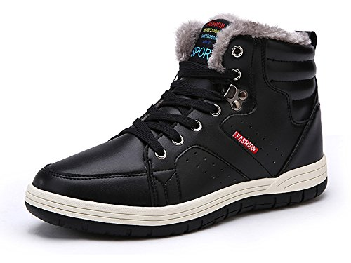 Eagsouni Mens Leather Snow Boots Lace Up Ankle Sneakers High Top Winter Shoes with Warm Fur Lining Black Lp1lWK7FE