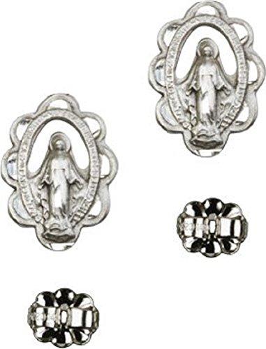 Miraculous Medal Earrings (Catholic Womens or Girls Miraculous Medal ST. MARY Post Stud Earrings …)